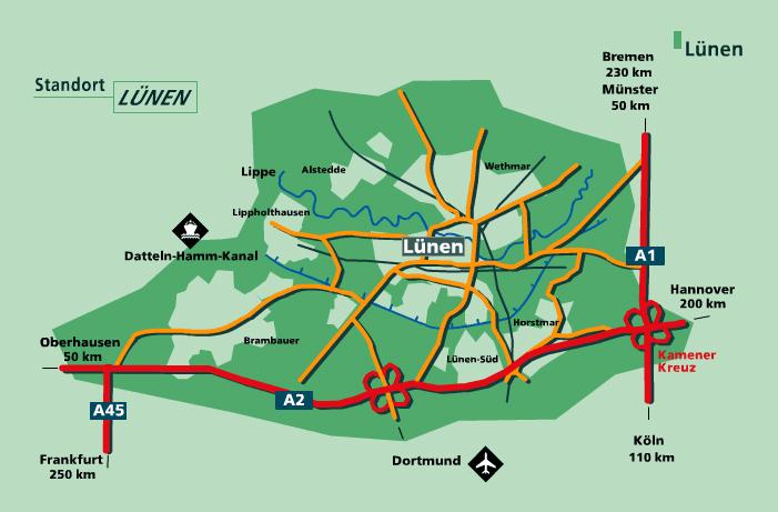 Karte der Region Lünen